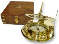 BRASS SUNDIAL WITH WOODEN BOX