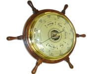 BRASS AND WOODEN BAROMETER