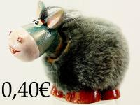 DONKEY MOVING HEAD, CERAMIC/HAIR