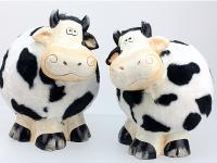 CERAMIC COW WITH HAIR