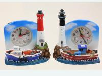 CLOCK WITH LIGHTHOUSE/RESIN BOAT