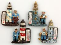 RESIN MAGNET, SAILOR LIGHTHOUSE/THERMOMETER