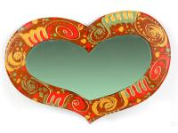 MIRROR, WOODEN FRAME, HEART