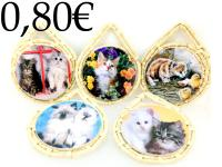 CERAMIC/WICKER TABLE MAT, CATS