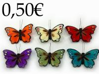 BUTTERFLY MAGNET WITH NATURAL FEATHERS